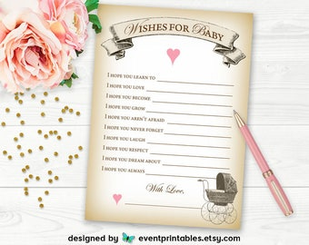 Printable Baby Shower Wish Cards, Wishes for Baby, Baby Shower Game, Advice Cards, Baby Carriage, DIGITAL FILE by Event Printables