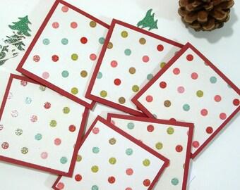Polka Dots Insert Cards, Red Mini Cards, Set of 8, White Envelopes, Mini Cartes, Cartes À Pois Multicolors, 2.5 x2.5