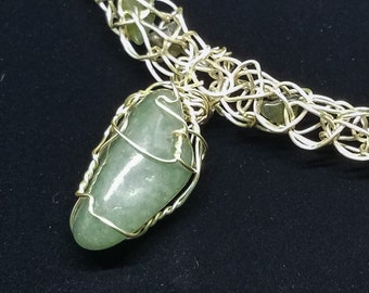 OOAK Jade Gemstone Pendant, Wire Wrapped in Silver on a Crocheted Silver Wire Necklace with Jade Chips with Magnetic Clasp