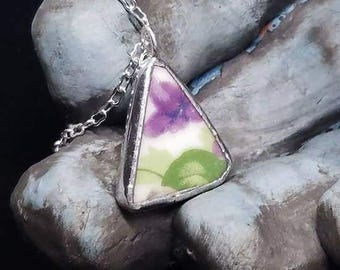 Triangle Cut Purple Flower Garden -  Broken China Plate with Silver Solder on Simple Silver Chain Necklace - Broken Plate Jewelry