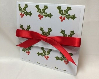 Classic Holly and Ivy Christmas Gift Card Holder