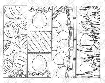Egg Easter Bookmarks, March April, PDF Printable Coloring Page, Party Favor, Bunnies Rabbits, Basket