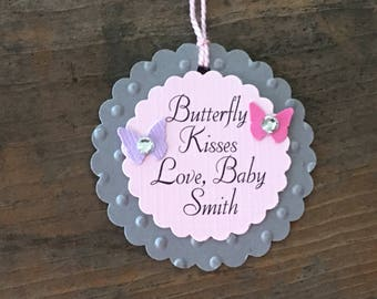 Baby Girl Butterfly Kisses Shower Tags - Personalized Tag - Pink Gray Purple - Baby Shower - Birthday Party - Favor Gift Tags