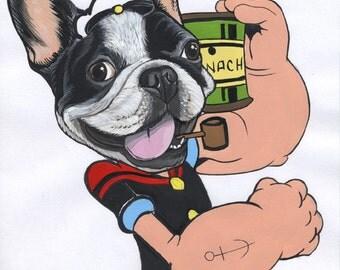 Original French Bulldog Drawing / A4-sized / framed