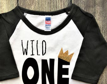 Wild One Raglan, Shirt or bodysuit / Wild One Shirt / family photos, birthday shirt, where the wild things are, wild things, wild one