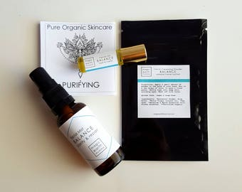 Purifying Skincare Travel/Sample Pack - completely natural and synthetic free skincare - handmade