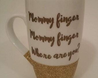 Mommy Finger Glitter Dipped Mug