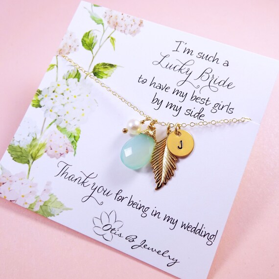 Bridesmaid gift, Gold Bridesmaid NECKLACE, personalized Bridesmaid gifts, Feather necklaces, bridesmaid thank you cards, Otis B