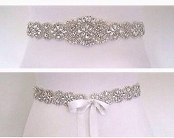 Wedding belt sash, all around bridal belt, beaded bridal sash