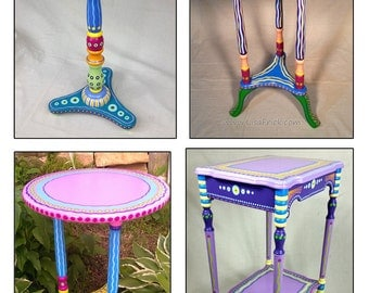 Hand Painted Furniture, Custom Hand Painted Furniture, Colorful Hand Painted Furniture, Hand Painted Side Table, Hand Painted Accent Table