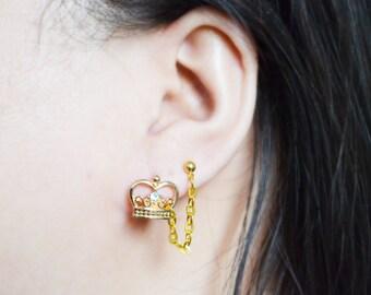 Gold Crown Double Pierce Cartilage Earrings (Pair)