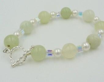 Jade Bracelet, Pearl Bracelet, Swarovski Crystal Bracelet, Elegant Bracelet, Jade and Pearl Bracelet, Jade and Crystal Bracelet