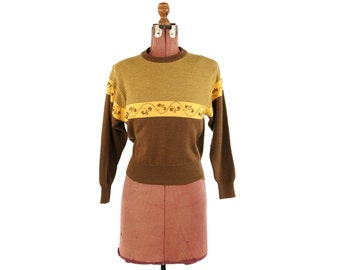 Vintage 1970's Brown + Yellow Pin Stripe All 100% Wool Knit Art Deco Crew Neck Sweater M