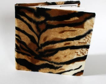 Notebook: Tiger print, Furry fun journal, blank faux fur sketchbook, hardback, handstitched and bound