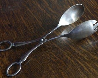 vintage silver plate salad serving tongs