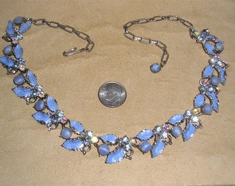 Vintage AB Rhinestone Enamel Necklace Choker With Blueberry Glass Moon Stone Accents 1960's Jewelry B33