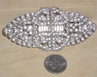 Vintage Coro Duette Dress Clips Brooch With Clear Rhinestones Rhodium Plated 1930's Signed Pat. 2044225 Jewelry 7037