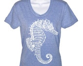 ON SALE Seahorse T Shirt Nautical Tees Illustration Graphic T Shirt Womens Tees Gifts For Her T-Shirt Beach Tees Vacation Shirt Super Soft T