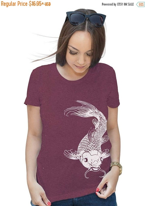 On sale womens koi fish t shirt gifts for her by lastearth for Koi fish gifts