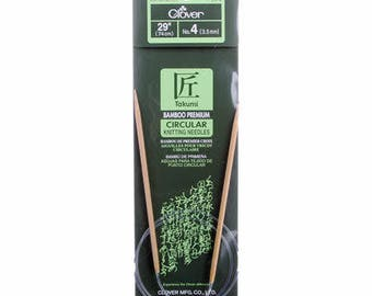 One Set of Clover Takumi Bamboo 29in Circular Knitting Needle Size 4 # 3016CV29-4