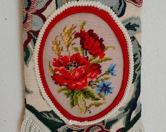 NEEDLEPOINT TAPESTRY FRINGE Brocade Shoulder Bag Victorian, Boho, Cottage Chic, Collectible, Steampunk, Edwardian, Gorgeous!