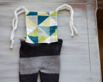 Green & Charcoal mod romper - newborn photo prop
