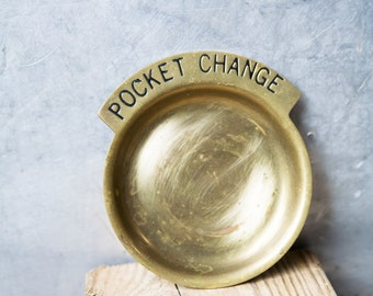 Vintage Trinket Dish / Pocket Change Dish / Brass Trinket Dish / Vintage Brass Trinket Tray