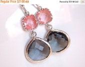 SALE Glass Earrings, Coral Earrings, Peach Earrings, Gray Earrings, Grey, Pink, Drop, Wedding Bridesmaid Earrings, Bridal, Bridesmaid Gift