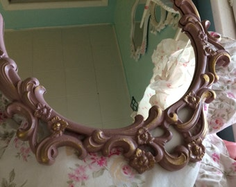 Vintage Sexton baroque mirror, Victorian pink and gold