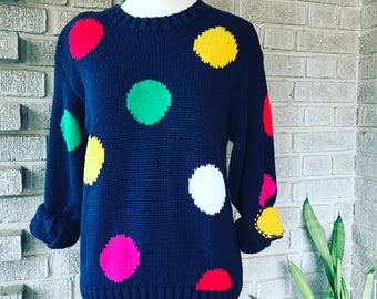 Vintage 1980s colorful polkadot sweater
