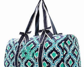 Personalized Quilted Large Geometric Duffel Bag Gym Dance or Overnight Bag - Navy, Green, & Aqua Bag