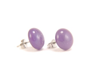 Gold purple glass stud earrings with clear top, on surgical steel earring posts