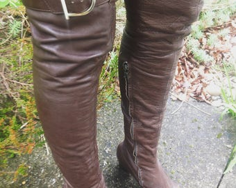 Original VERY RARE 60s 70s dark brown soft leather OTK thigh high over knee psych gogo buckle boots uk 4 37