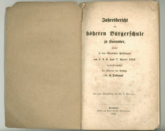 Goethe's Faust, 1854 Critical Work on the Final Scene of Faust Bound with Yearly Report of Hannover Bürgerschule Text in Black Letter German