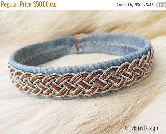 """Swedish Sami Viking Bracelet cuff FREKE size 21 cm / 8.3"""" - 20% off OUTLET ready to ship - Blue Denim Leather with Bronze and Pewter Braid"""
