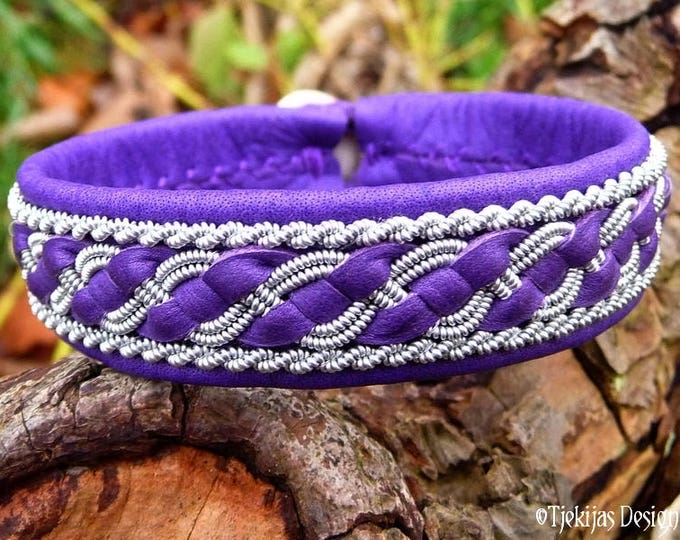 Sami Lapland Viking Bracelet FAFNIR Custom Handmade Purple Leather Cuff for Guys and Girls, with Pewter Braid and Antler Closure