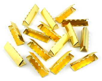 100 Pieces 32*10mm Gold Flat Ribbon Clamp End Crimp [1-1/4 inch]  (J-EC32)