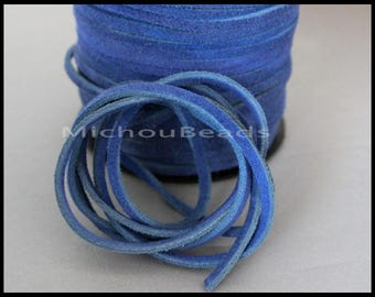 DESTASH Sale 2 Yards Genuine SUEDE Cord - Vintage BLUE 6 feet 3x1.8mm Distressed Split Suede Leather Natural Dye Color Lace Cord by the Yard