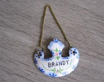 Vintage Enamel Brandy Decanter Tag/Label – 1970s