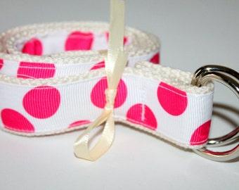 Girls Belt Hot Pink Belt Girls Ribbon Belt PInk and White Girls Belt Velcro Belt Polka Dots Ribbon D Ring Girls Preppy Belt School Belt
