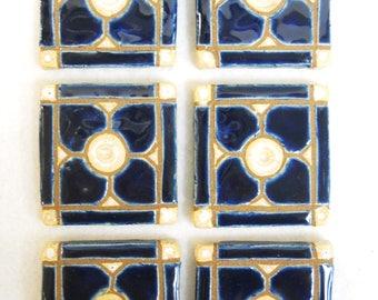 Handmade Mosaic Ceramic Tiles NAVY BLUE Dogwood Pattern Grouted set of 6 - Mosaic Tile Pieces - Craft Tiles