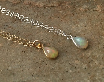 Tiny Opal Necklace in Sterling Silver or Gold Fill -Silver Gold Opal Necklace