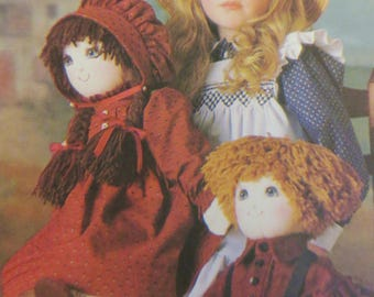 Girl and Boy Soft Rag Doll Pattern, Vogue Craft 9699,  22 inch Doll with Clothes, dress bonnet slip, pantaloons, shirt pants, Linda Carr
