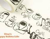 Coffee Supplies in Black - Japanese Washi Masking Tape - 30mm Wide - 11 Yard
