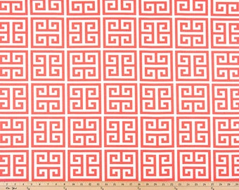 1 Yard Coral Pink Greek Key Fabric - Premier Prints-  Coral and White Towers - Fabric by the Yard