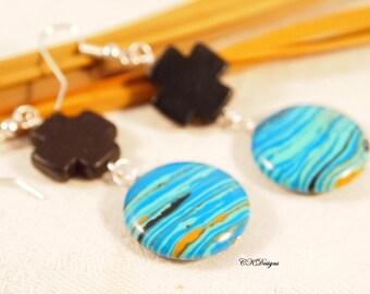 Southwestern Style Earrings, Cross Earrings, Glass Beaded Pierced or Clip-on Earrings. OOAK Handmade Earrings. Gift for her. CKDesigns.US
