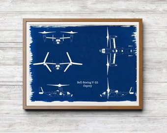 Bell-Boeing V-22 Osprey A4 Hand coated traditionally made cyanotype blueprint