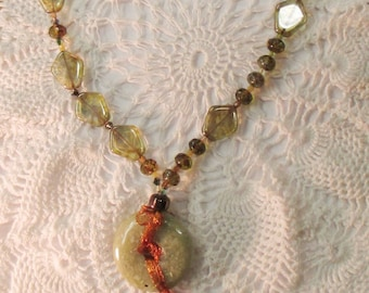 Green Jasper Donut Necklace