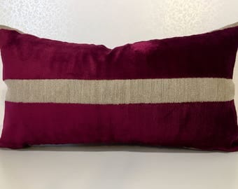 MAGENTA Raspberry Cerise PINK, velvet Wide stripe RECTANGLE cushion cover / Lumber pillow sham with Natural linen Osborne and Little fabric.