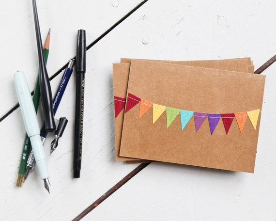 Thank You Cards, Rainbow Birthday Cards, Blank Stationery, Kraft Notecards, Colorful Stationary, Fun Greeting Cards, Paper Bag Notes,